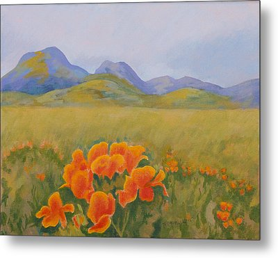 Sutter Buttes With California Poppies Metal Print