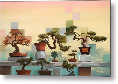 Metal Print featuring the painting Suzhou Bonzais by Dave Platford