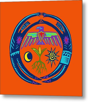 Metal Print featuring the digital art Sw Shaman Eagle Rain Dance by Vagabond Folk Art - Virginia Vivier