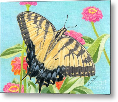 Swallowtail Butterfly And Zinnias Metal Print by Sarah Batalka
