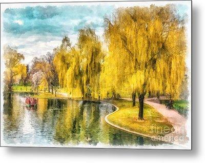 Swan Boats Boston Public Garden Metal Print by Edward Fielding