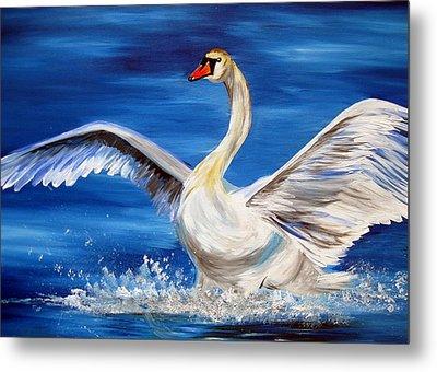 Swan Metal Print by Cathy Jacobs