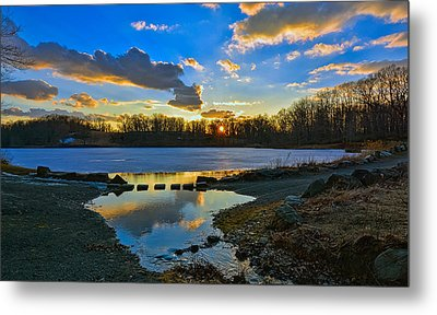 Swan Lake Sunset Metal Print