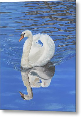 Metal Print featuring the painting Swan Reflection by Elizabeth Lock