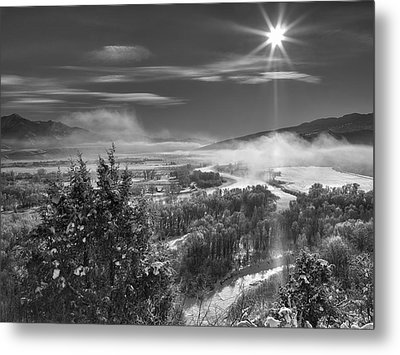 Swan Valley Winter Black And White Metal Print by Leland D Howard