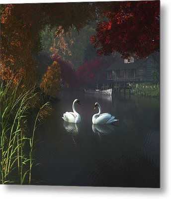 Swans In A River Near Home Metal Print