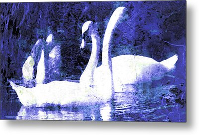 Metal Print featuring the digital art Swans On Water  by Fine Art By Andrew David