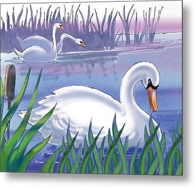 Swans Metal Print by Valer Ian