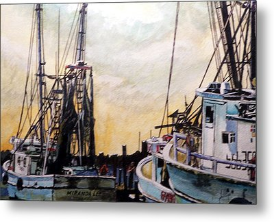 Metal Print featuring the painting Swansboro Shrimp Boats by Jim Phillips