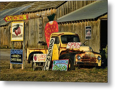 Metal Print featuring the photograph Swanton Berry Farm / International Pickup by Steve Siri