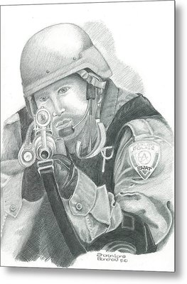 S.w.a.t. At The Ready Metal Print by Sharon Blanchard