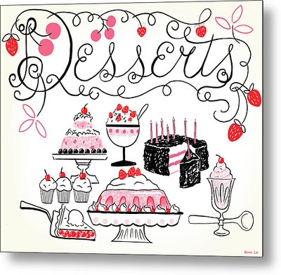 Sweet And Lovely Desserts Metal Print by Little Bunny Sunshine