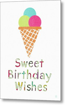 Sweet Birthday Wishes- Art By Linda Woods Metal Print