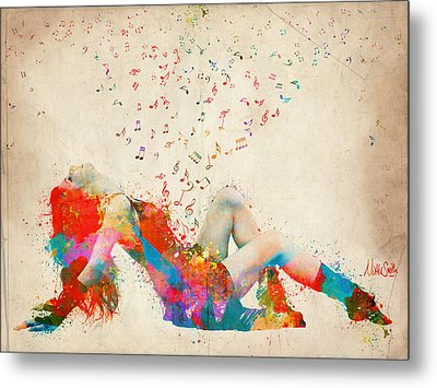 Sweet Jenny Bursting With Music Metal Print by Nikki Smith