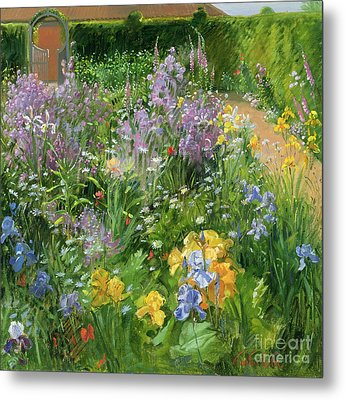 Sweet Rocket - Foxgloves And Irises Metal Print