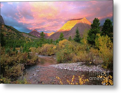 Swiftcurrent Sunrise Metal Print by Dave Hampton Photography