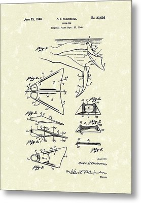 Swim Fin 1948 Patent Art Metal Print by Prior Art Design