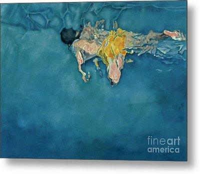 Swimmer In Yellow Metal Print