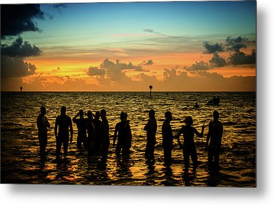 Swimmers Sunrise Metal Print