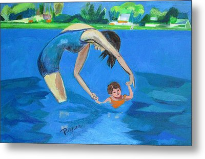 Metal Print featuring the painting Swimmin' by Betty Pieper