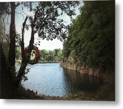Metal Print featuring the photograph Swimming At The Quarry by Karen Stahlros