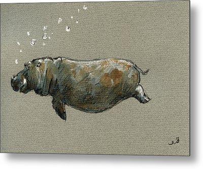 Swimming Hippo Metal Print by Juan  Bosco