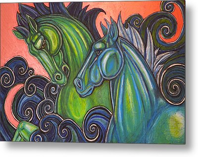 Swimming Horses  Metal Print by Lynnette Shelley