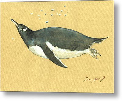 Swimming Penguin Metal Print by Juan  Bosco