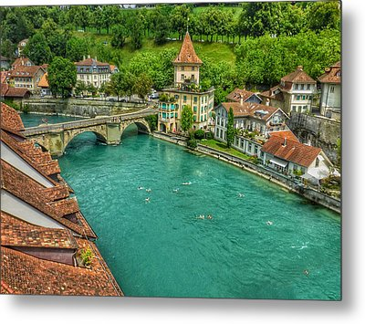 Metal Print featuring the photograph Swimming The River Aare , Bern  by Connie Handscomb