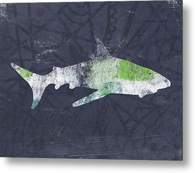 Swimming With Sharks 3- Art By Linda Woods Metal Print