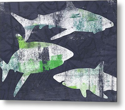 Swimming With Sharks- Art By Linda Woods Metal Print