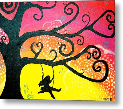 Swinging In The Breeze Metal Print by Una  Miller