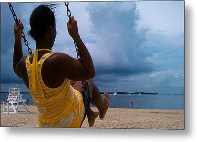 Swinging On A Stormy Sandy Beach Metal Print by Paul SEQUENCE Ferguson             sequence dot net
