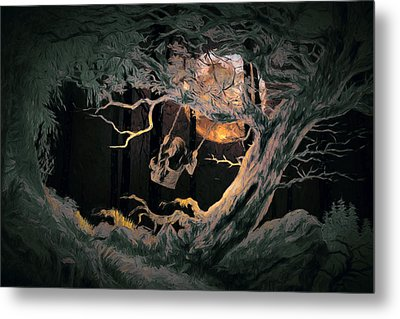 Swinging Through The Forest By Moonlight Metal Print by John Haldane