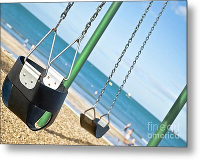 Metal Print featuring the photograph Swings On The Ocean Beach by Yurix Sardinelly