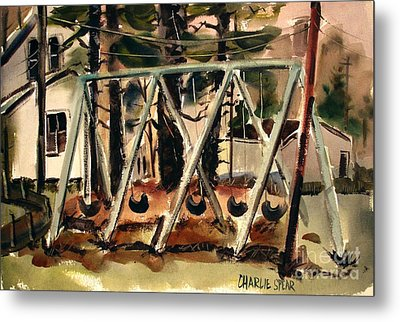 Metal Print featuring the painting Swings Under The Pines Before The Storm Plein Air by Charlie Spear