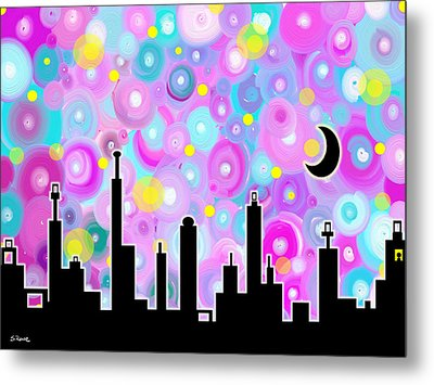 Metal Print featuring the painting Swirly Metropolis by Shawna Rowe