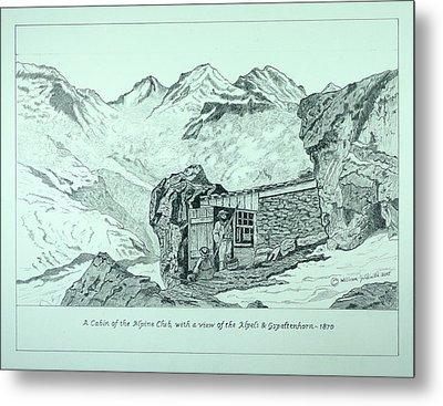 Swiss Alpine Cabin Metal Print