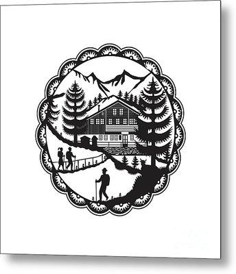 Swiss Chalet Alpine Hiker Decoupage Metal Print