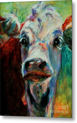 Metal Print featuring the painting Swiss Cow - 1 by David  Van Hulst