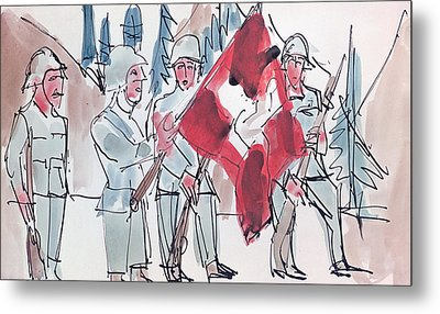 Swiss Soldiers With Flag Metal Print by Ernst Ludwig Kirchner