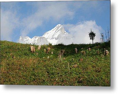 Switzerland Snow Capped Alps Landscape Metal Print