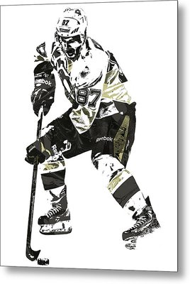 Sydney Crosby Pittsburgh Penguins Pixel Art3 Metal Print by Joe Hamilton
