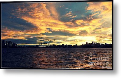 Sydney Harbour At Sunset Metal Print by Leanne Seymour