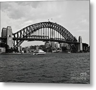 Sydney Harbour Bridge In Black And White Metal Print by Chris Smith