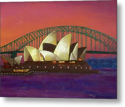 Sydney Sunset Metal Print by Caroline Jones