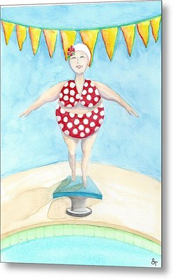 Sylvia At The Pool Metal Print by Stephanie Troxell