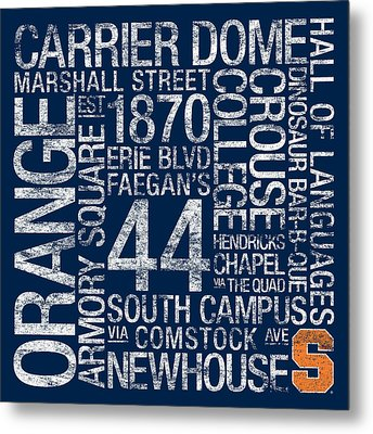 Syracuse College Colors Subway Art Metal Print