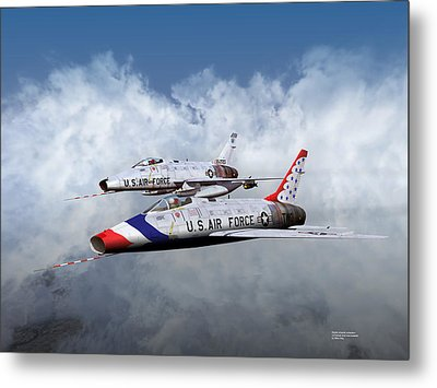Metal Print featuring the digital art T Bird Two And A Regular Hun by Mike Ray