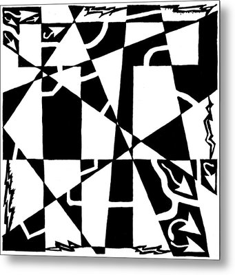 T Maze Metal Print by Yonatan Frimer Maze Artist